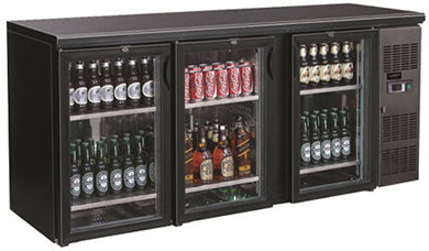 Backbar cooler 537L svart 3 dører
