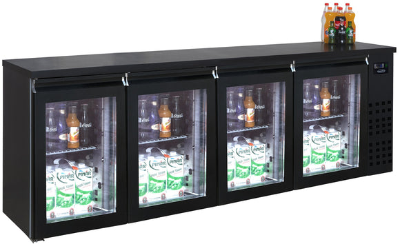 Backbar cooler 680L svart 4 dører