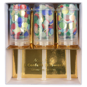 Rainbow Confetti Poppers - Pack of 3