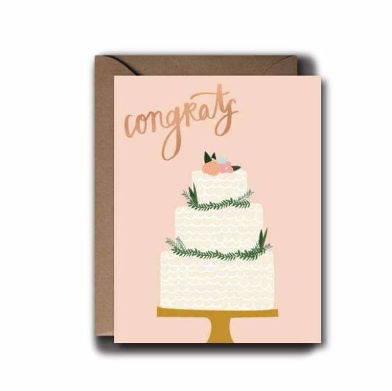 Congrats Floral Wedding Cake Greeting Card
