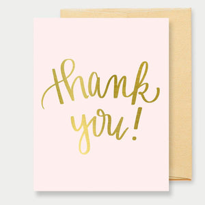 Thank You - Pink/Gold Greeting Card