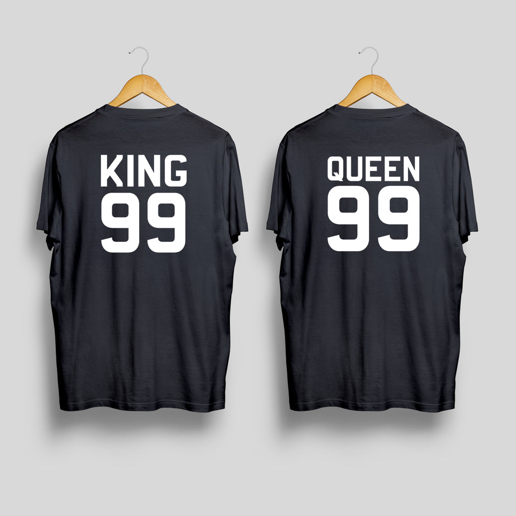 King 99 & Queen 99(Back) - Couple T Shirt