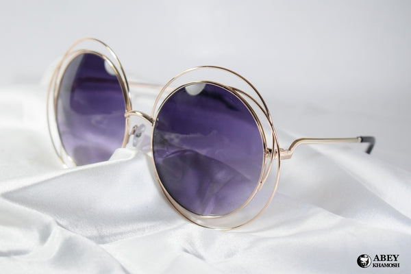 Hannah Classic Purple Round Sunglasses