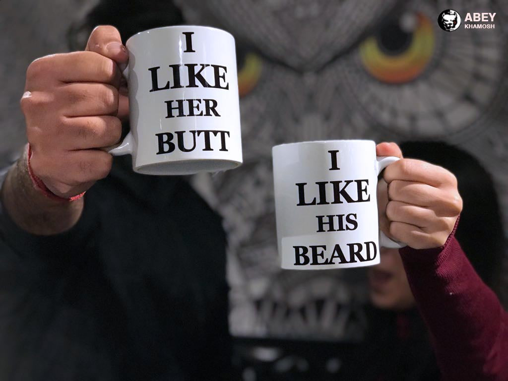 I Like Her Butt I Like His Beard Couple Mug