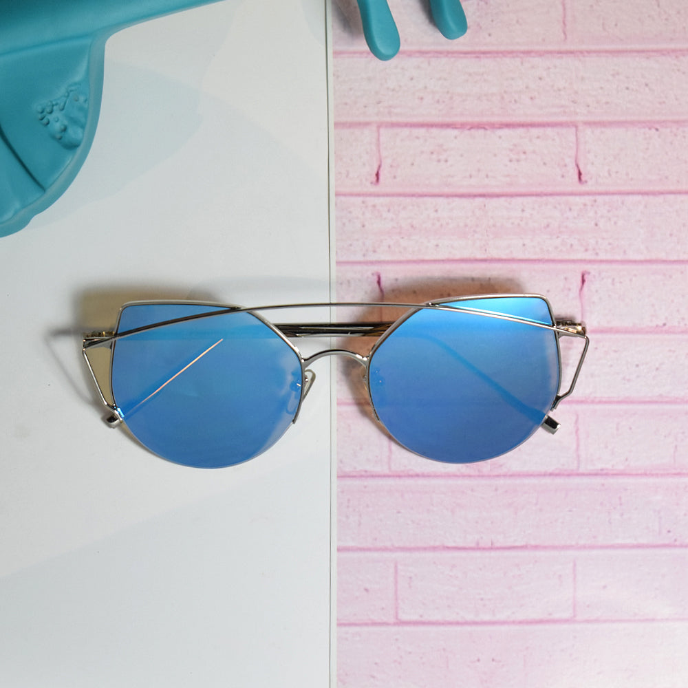 Paris Fascinating Half Rim Blue Sunglasses