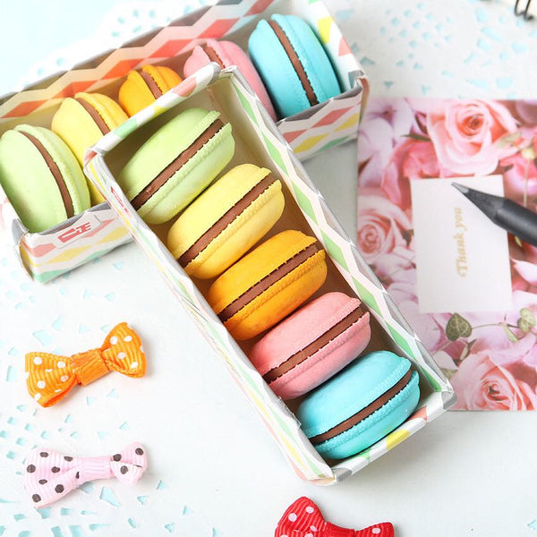 Super Cute Macaron Shape Erasers , Set of 5