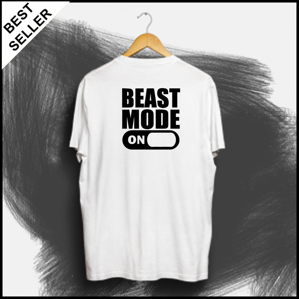 Beast Mode ON (Back) - Half Sleeve Cotton T-Shirt