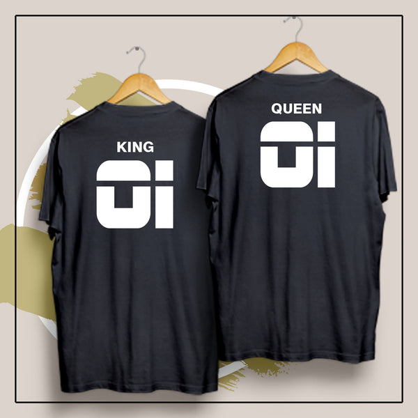 King 01 Queen 01 (Back) - Couple t Shirt