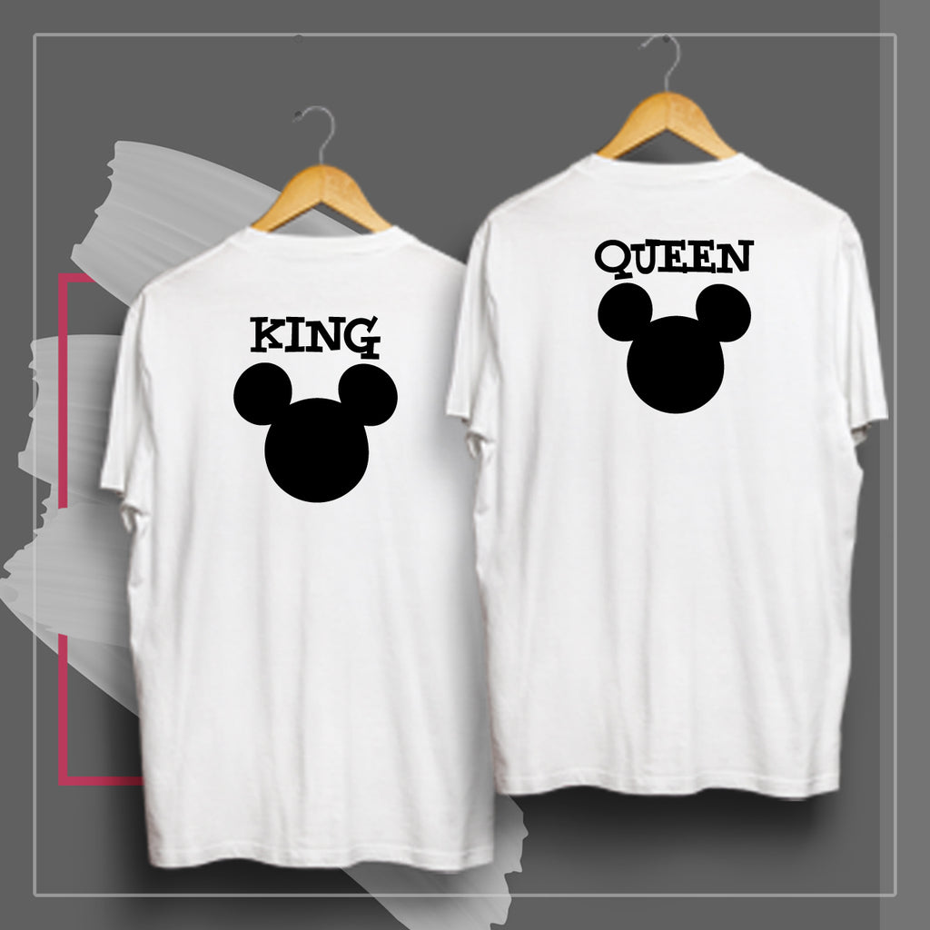 King And Queen (White)- Couple t Shirt