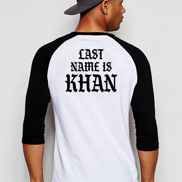 Last Name is Khan (back side) - Full Sleeve Cotton T-Shirt