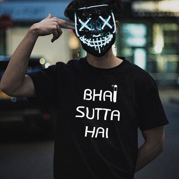Bhai Sutta Hai - Half Sleeve Cotton T-Shirt