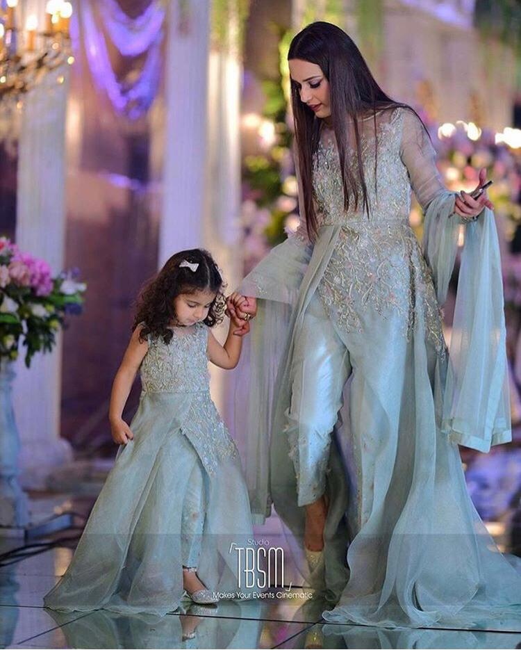 mint green outfit of organza net for pakistani wedding