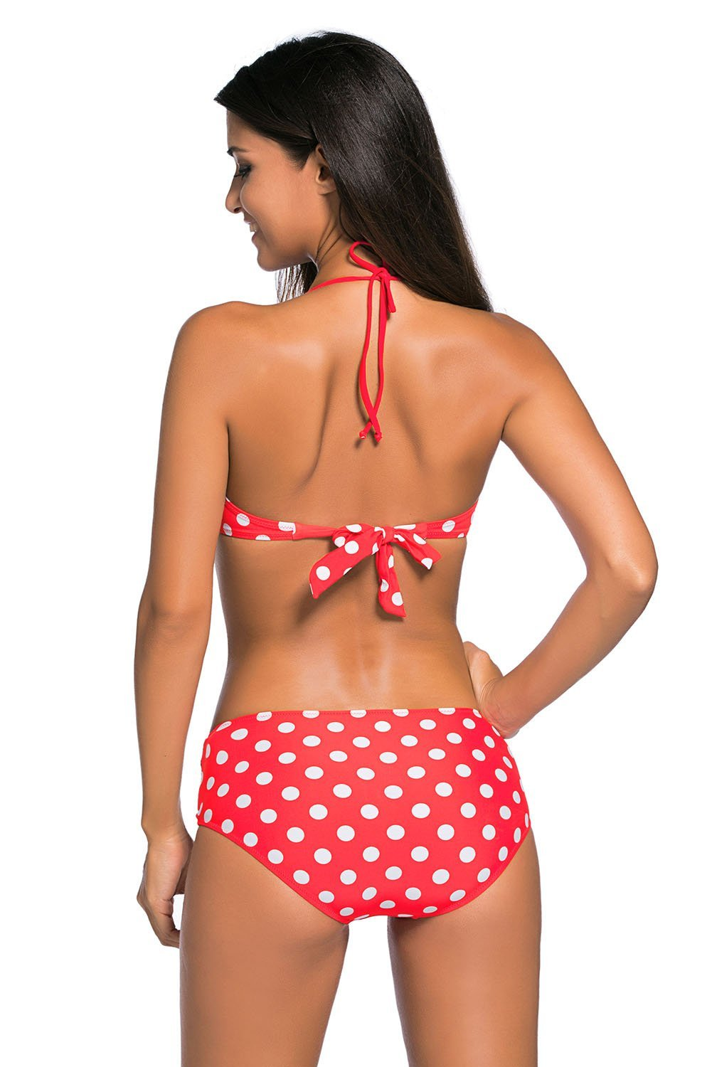062e3057a Red White Dots Bow Detail High Waist Bathing Suit – Fashionero