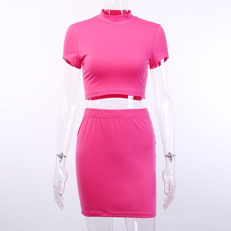 Neon Cropped Tops and Skirt 2pieces Outfits-200003494-HugGitar