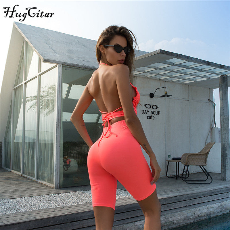 Neon Halter Cropped Cami and Shorts 2pieces Sets-200003494-HugGitar