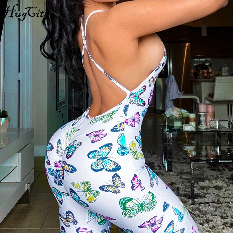 Butterfly Print Backless Outfit