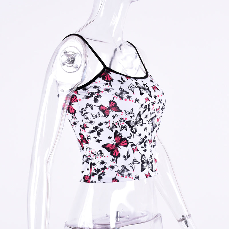 Butterfly Printed Cropped Cami-200000790-HugGitar