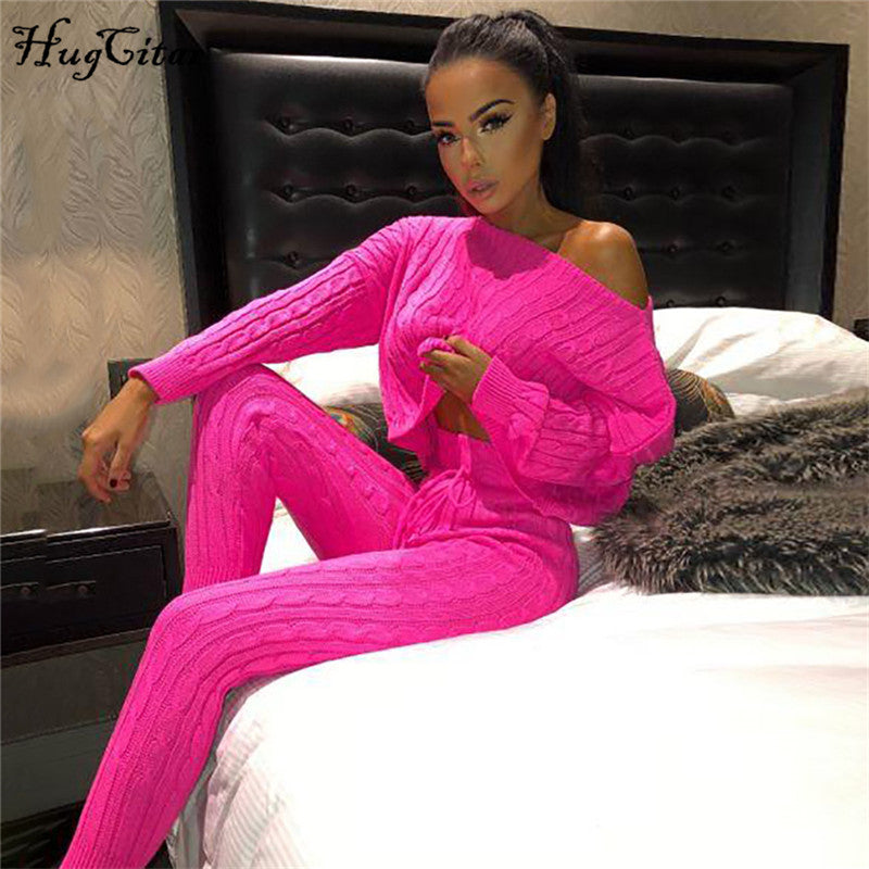 Knitted sweater pants 2 piece set-200003494-HugGitar