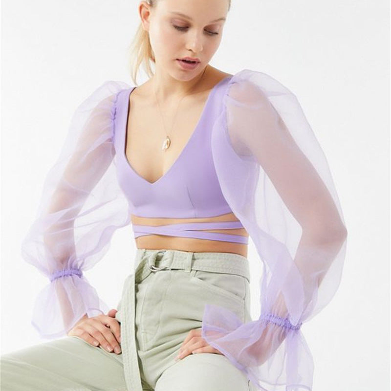 V-neck Puff Sheer Sleeve Cropped Top-200000791-HugGitar