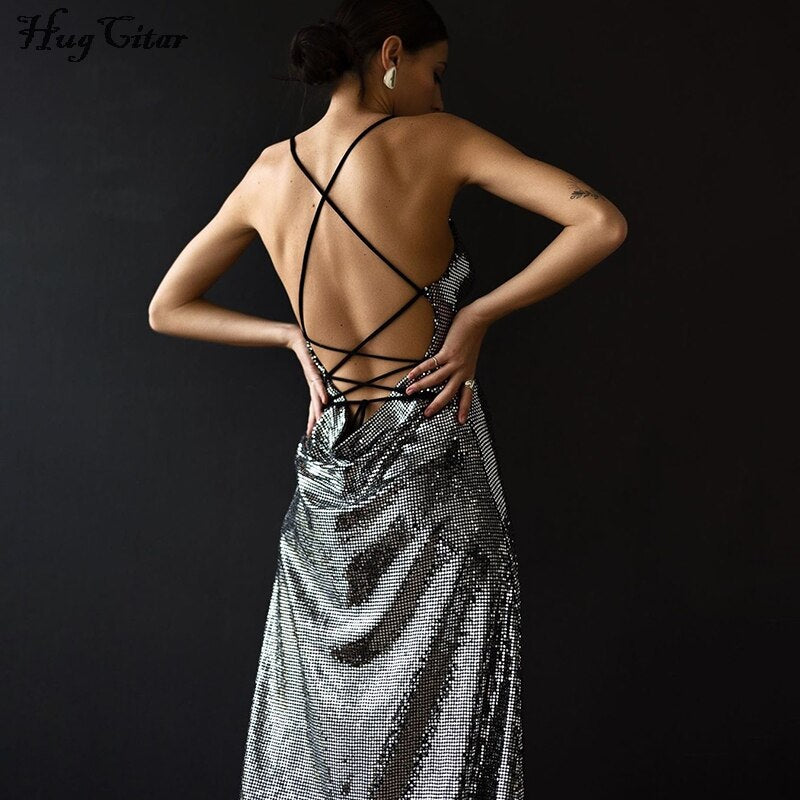 Sequined Shiny Backless Slip Dress