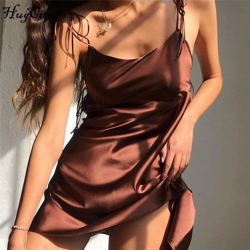 Satin Spaghetti Straps Flare Mini Dress