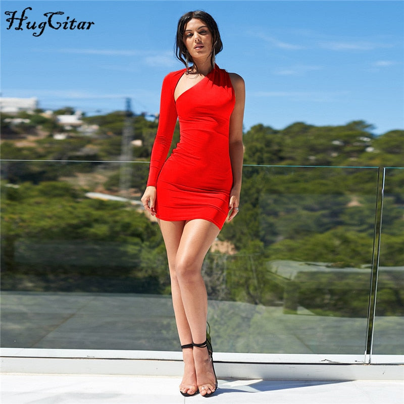 Asymmetrical One-Shoulder Mini Dress