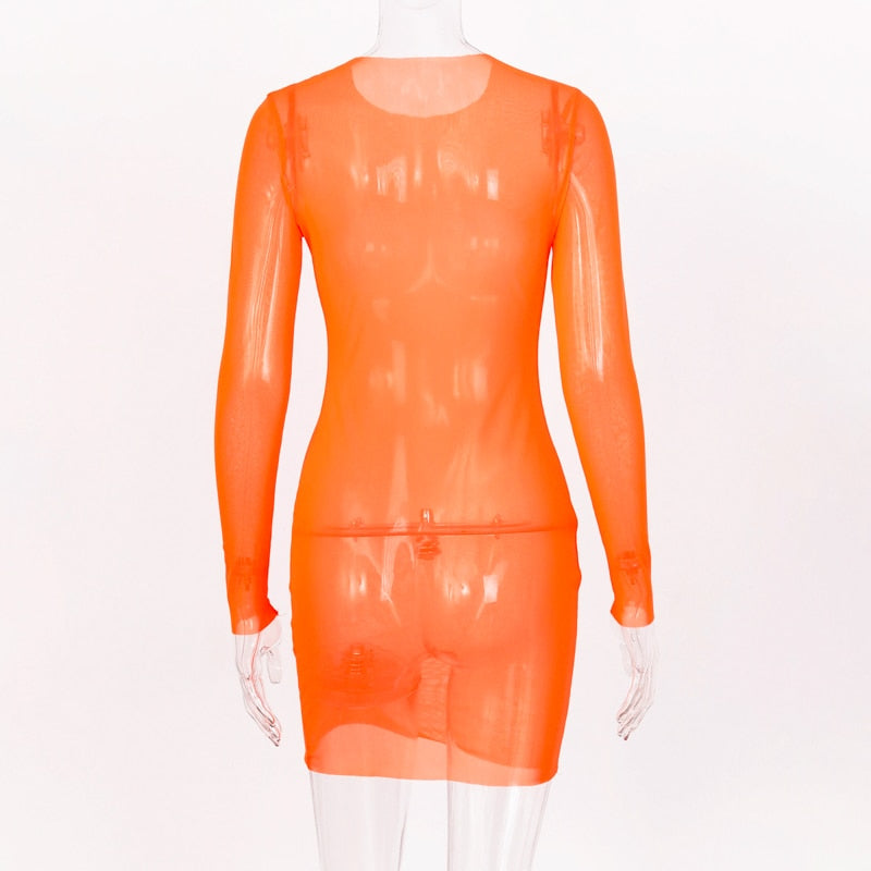 Orange Mesh See-through Mini Dress
