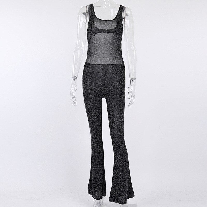 Backless Hollow out Flare Jumpsuits