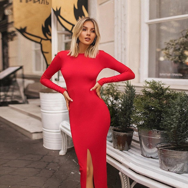 Pure Slit Midi Dress