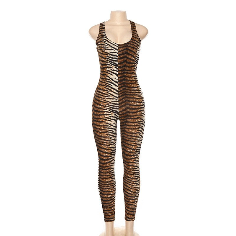 Tiger Print Backless Bodysuit