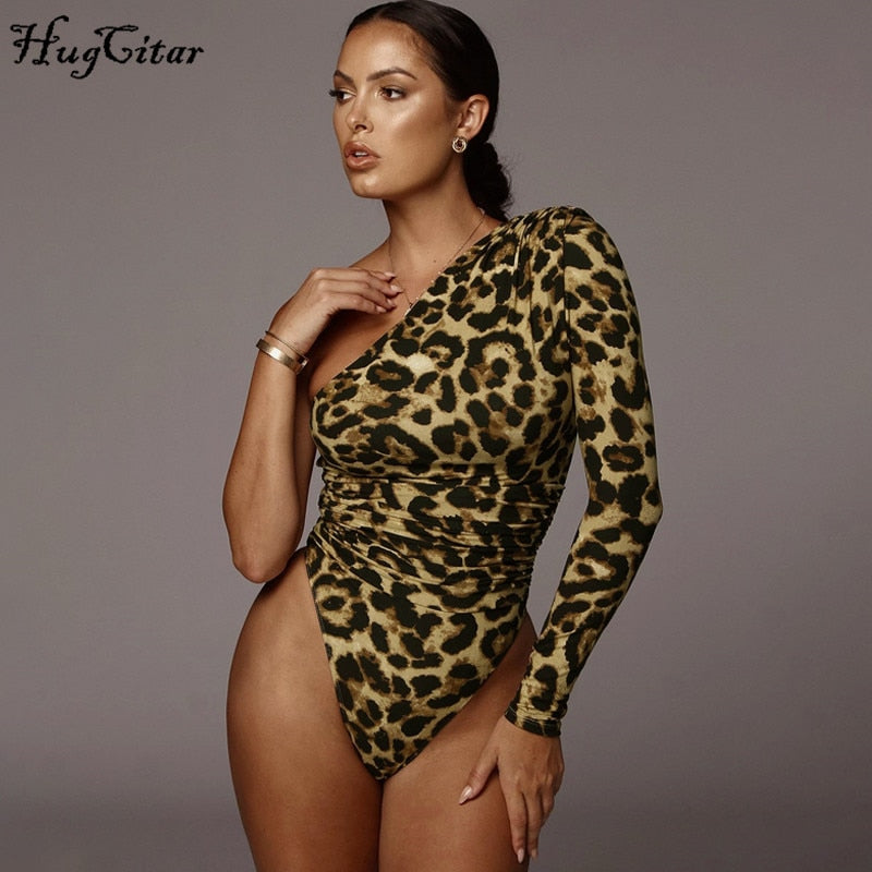 One-shoulder Long Sleeve Bodysuit