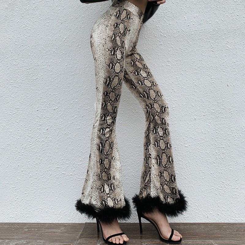 High Waist Patchwork Trousers