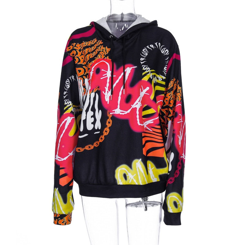 Print Baggy Hooded Sweatshirt