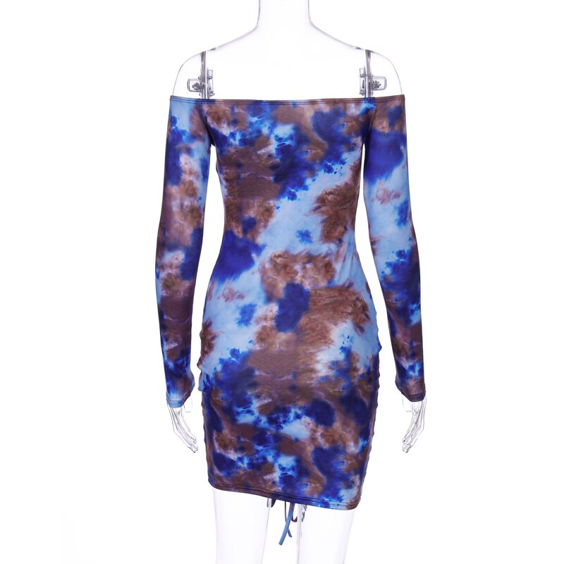Tie-dye Ruched Mini Dress