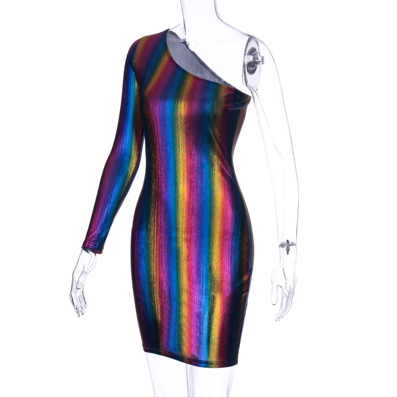 Reflective One-shoulder Mini Dress