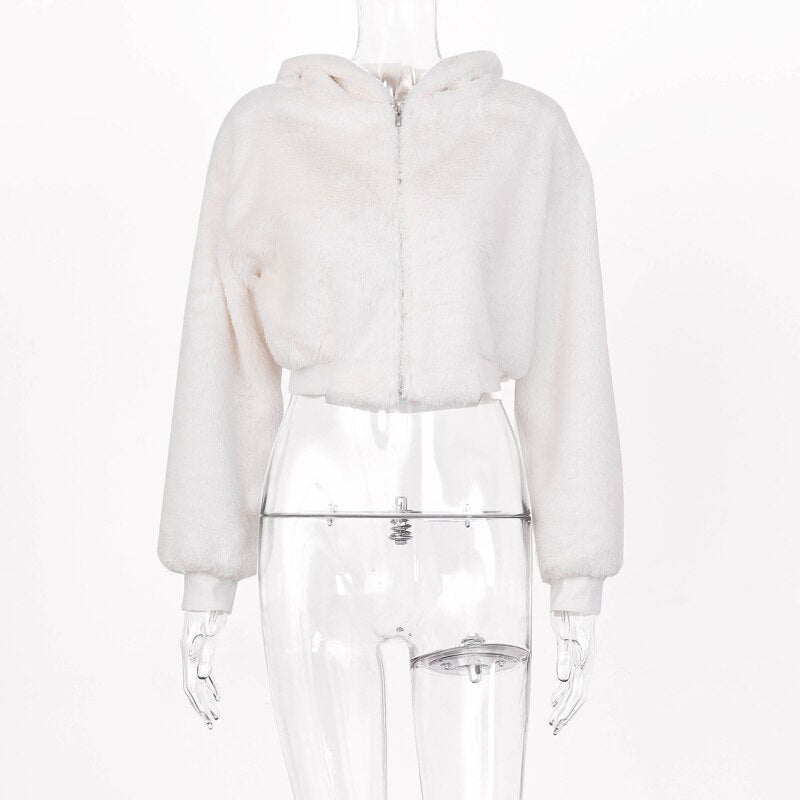 White Faux Fur Hooded Jacket