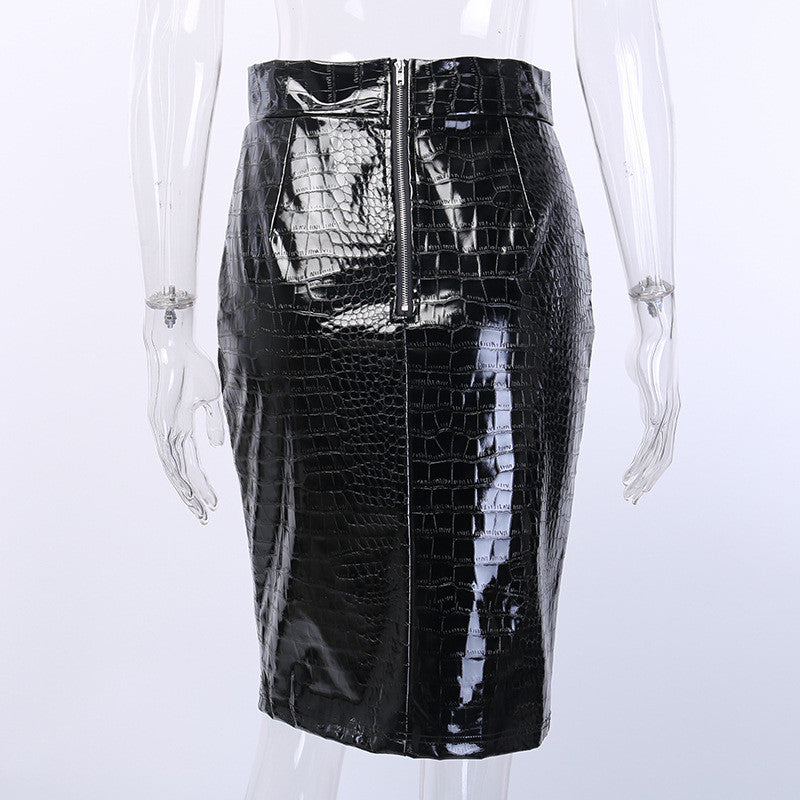 PU Leather Crocodile Pattern Skirt