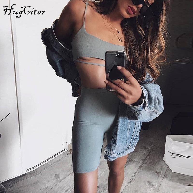 Cutout Crop Top & Cotton-Blend Biker Shorts Women Set-HugGitar