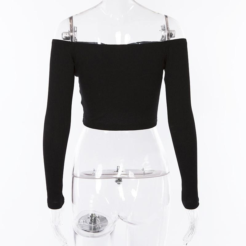 Off-The-Shoulder Button Cropped Tops-HugGitar