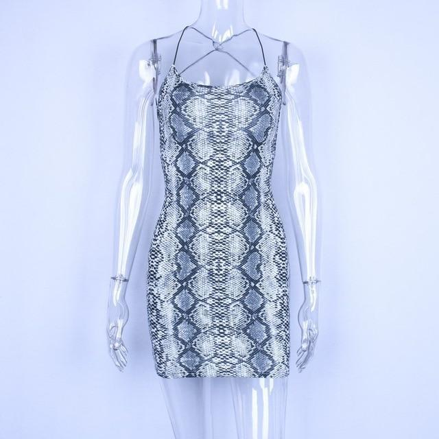 Snakeskin Crisscross-Back Mini Dress-HugGitar