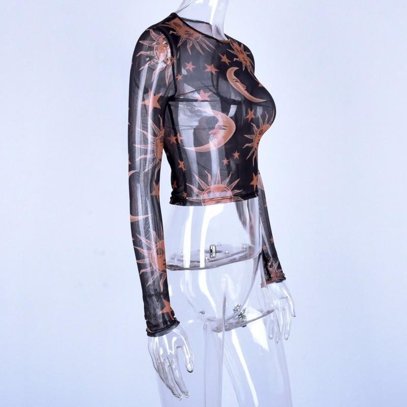 Sheer Printed Cropped Tops-HugGitar