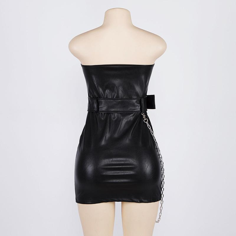 Faux Leather Zipper Mini Dress-HugGitar