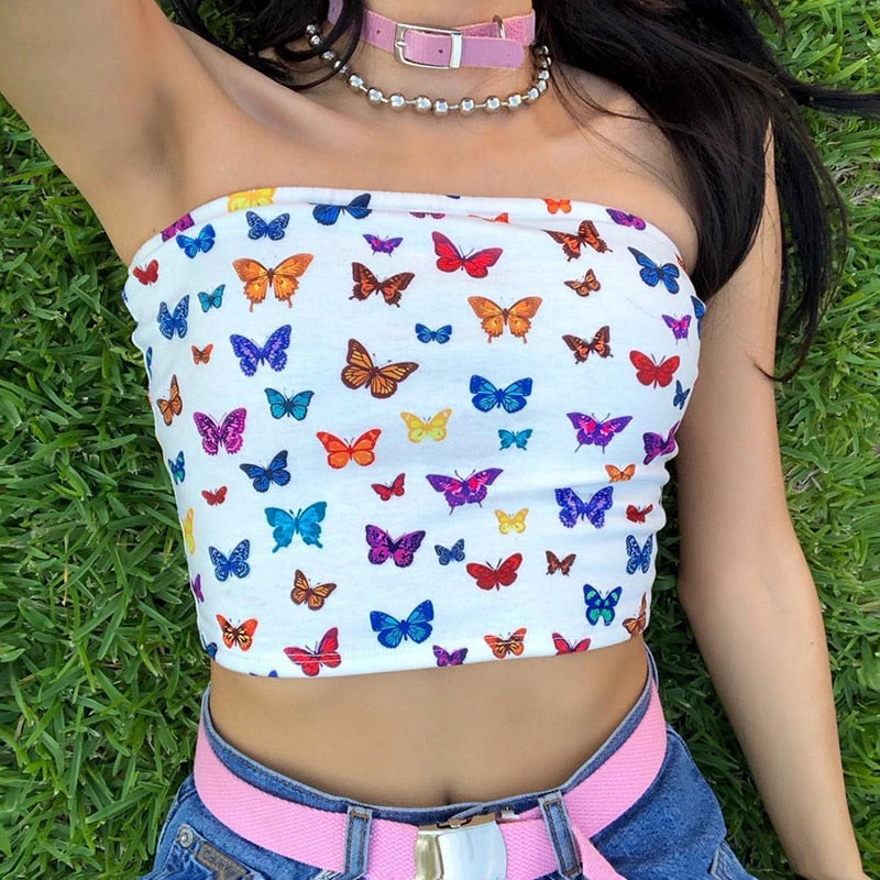 Butterfly Print Cropped Tube Top-HugGitar