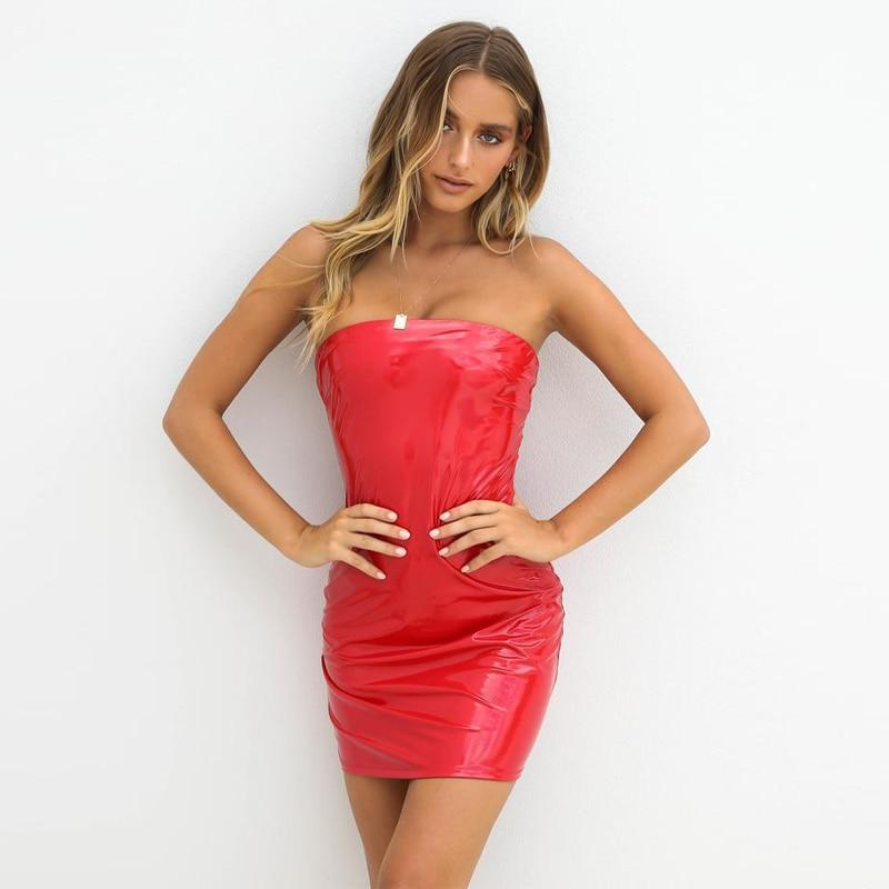 PU Leather Slim Mini Dress-HugGitar