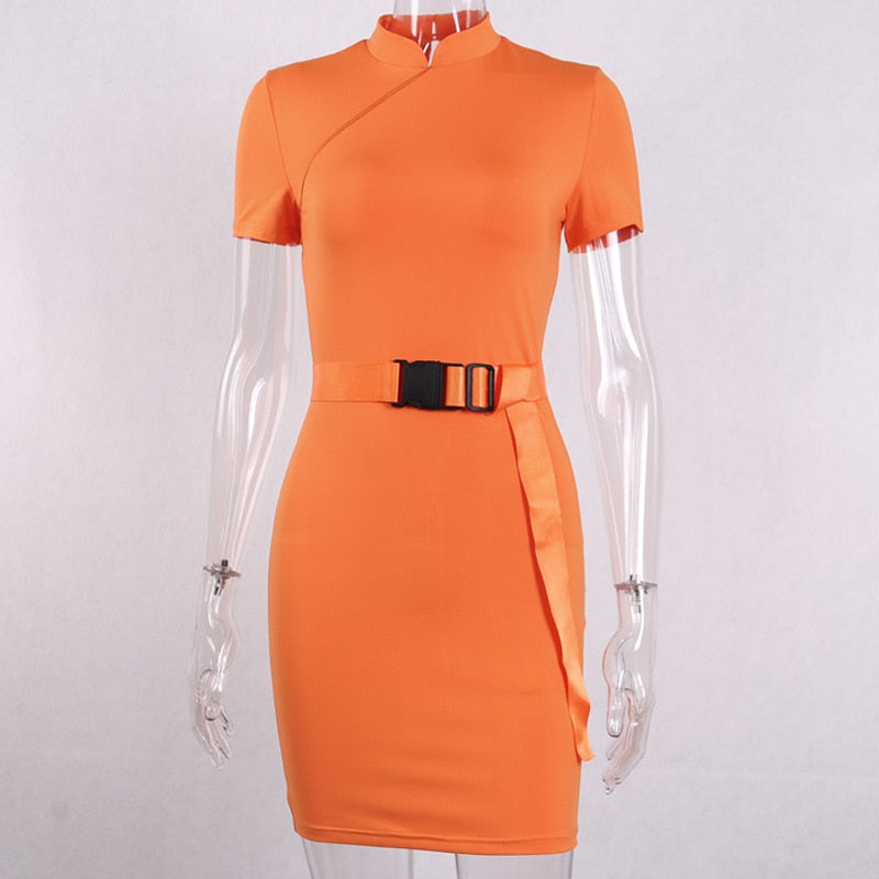 Neon Buckle-Front Short Dress-HugGitar