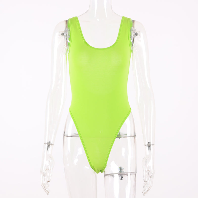 Cotton Backless Neon Bodysuit-HugGitar