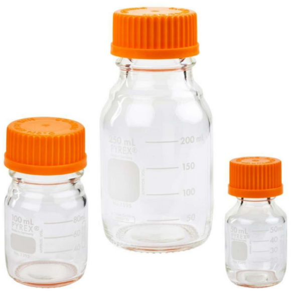 Glass Pyrex Round Media Storage Bottles - Optimal Scientific