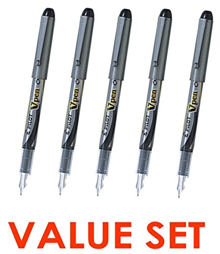 Pilot Vpen Medium Point Disposable Fountain Pen (5pcs) - Black Ink [SVP-4M]
