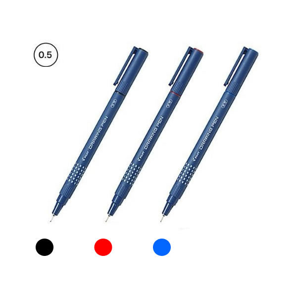 Pilot SW-DR-05 Black, Red and Blue 0.5mm Drawing Pens (3pcs) - Assorted