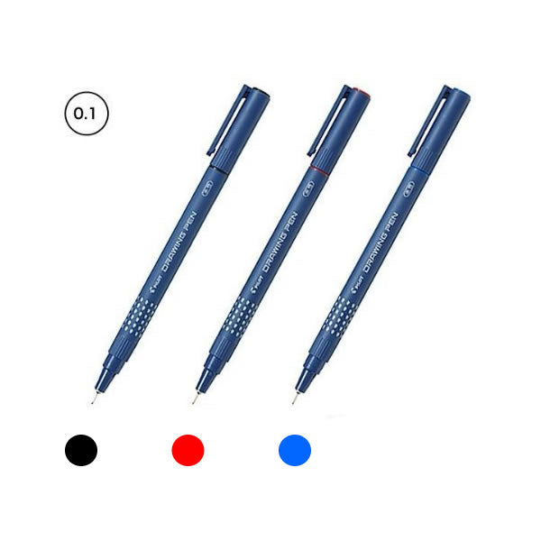 Pilot Black, Red and Blue 0.1mm Drawing Pens (3pcs) - Assorted [SW-DR-01]